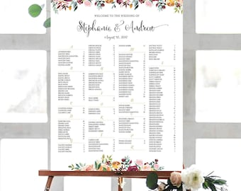Wedding sign, Wedding seating chart alphabetical, Wedding Seating Chart, Printable Wedding Seating Chart - US_WC1301