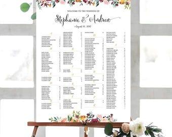 Wedding sign, Wedding seating chart alphabetical, Wedding Seating Chart, Printable Wedding Seating Chart - US_WC1301
