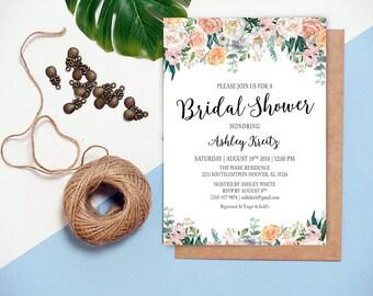 Watercolor Bridal Shower invitation, Bridal shower invitation, Rustic bridal shower invitation, Floral Bridal Shower - US_BI1901