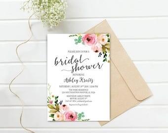 Watercolor Bridal Shower invitation, Bridal shower invitation, Rustic bridal shower invitation, Floral Bridal Shower - US_BI1213