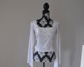 White Gothic Fantasy Medieval Long-sleeved Shirt Size S/M
