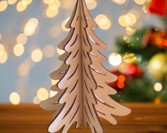 "Laser-Cut Wooden Tree - Christmas tree - Christmas Tree in Wood - 8""x 6"" Wooden Tree"