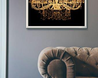 Chandelier, chandelier wall art, chandelier print, chandelier poster, bedroom wall art, chandelier photo, gold print, bedroom print,