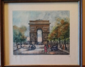 Original Aquatint Etching of Paris