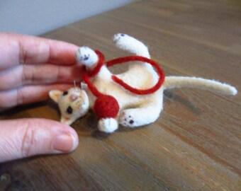 Snowflake - OOAK, artist cat, miniature cat, vintage cat, dollhouse cat, tiny cat,  art cat, teddy cat, Blythe