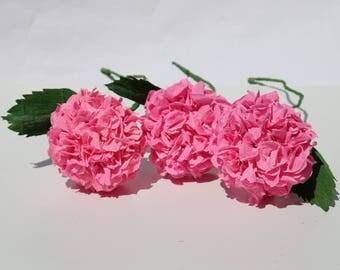 3 pink hydrangeas, pink flower bouquet, crepe paper flowers, home decor, wedding flowers, birthday gift, housewarming gift, 3 pink blooms