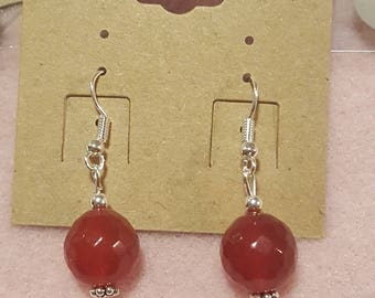 Red Jade Silver Earrings