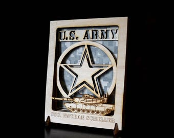 Military Gift, Personalized Army Gift, Army Decor, Military Retirement, Veterans Day Gift, Army Plaque, Wood Decor, Military Veteran, Tank