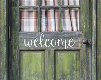 Welcome Sign Decal - Front Door Decal - Welcome Door Decal - Farmhouse Decal - Rustic Decor -Porch Decal -Farmhouse Decor -Housewarming Gift