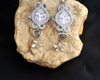 soutache earrings lavender silver, soutache, soutache jewelry, handmade earrings, soutache jewels, long earrings, soutache embroidery