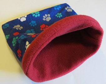 "MEDIUM Pawprint Cuddle sleep sack bag for guinea pig/hedgehog/rat/ferret- 10"" x 10"" reversible red fleece small animal bag"