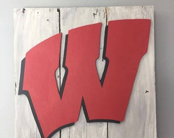 Rustic UW Madison Wisconsin Badgers Decorative Wall Decor Sign