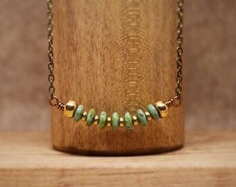 """Mint Green Picasso Czech Glass Pendant Necklace ~ 18"""" Green Pendant Necklace"""