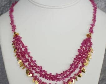 Ruby with 18k solid Gold Necklace with Matching Earrings.