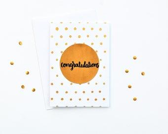 Congratulations Card A6 - Hand Made - Gold Polka Dots