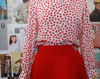 Vintage 1980s red & geometric long sleeved shirt