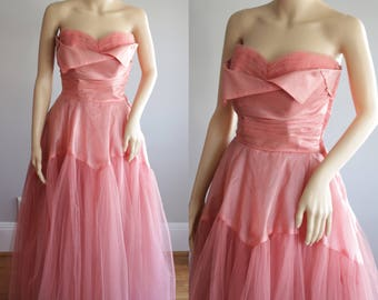 Sublime 50s Ashes of Roses Debutante/Prom/Bridal Dress