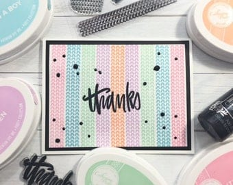 C003 - Handmade Pastel Pattern Thanks Greeting Card - Thank You Card
