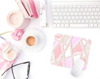 Geometric Print Mouse Pad | Gift for Coworker | Desk Accessory | Birthday Gift | Pink Office Mousepad