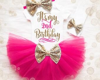 2nd Birthday Outfit Girl   2nd Birthday Shirt   2nd Birthday Outfit   Baby Girl Birthday Cake Smash Outfit   2nd Birthday Tutu Set