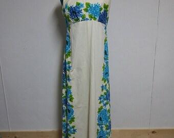 Vintage Size Large Hawaiian Bark Cloth Blue Floral Muu Muu  Luau Maxi Dress Vacation Festival Gown Summer Cruise Wear Fashion