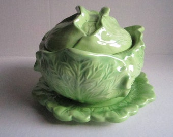 FREE SHIPPING ** Vintage serving cabbage bowl with cover and plate in ceramic , Coupon code