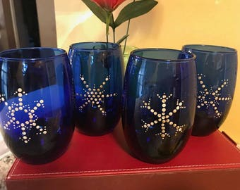 Snowflake Stemless Wine Glass Set of 4