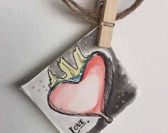 "Tiny Watercolor ""Love"""