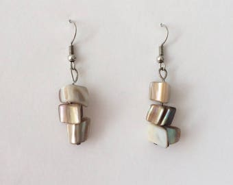 Vintage 1970's Mother Of Pearl Chip Beads Dangle Drop Earrings