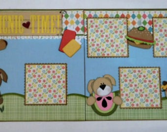 Picnic Pups Double Page Scrapbook Layout