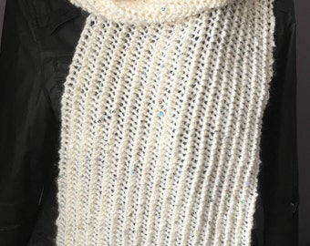 Knitted Scarf, Hand Knit Scarf, Handmade Scarf, Ladies Scarf, Cream Scarf, Women's Scarf, Sequin Scarf, Winter Scarf, Cream Knit Scarf