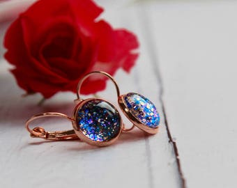 Purple Rose Earrings - Rose Gold Earrings - Purple Earrings - Rose Gold Earrings - Handmade Earrings