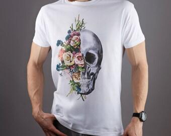 Flower shirt Rock t shirt Floral shirt Skeleton t shirt Rock and roll shirt Flower t shirt Rib cage Skeleton shirt Rock shirt Music GOT128
