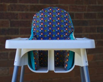 Blue Birds - High Chair Cushion Cover To Fit IKEA Antilop Highchair Pyttig Insert - 100% Cotton Fabric - made by Pear of Stitches on Etsy