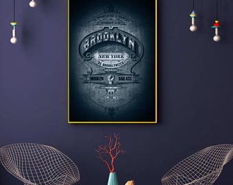 Brooklyn NY Wall Decor, Brooklyn New York Script Text Poster, Tattoo Art, Wall Art