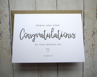 Wedding Day card // Congratulations on your wedding day // Card for bride and groom // Personalised wedding card // Friend's wedding day //