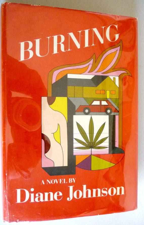 Burning 1971 Diane Johnson - 1st Edition Hardcover HC w/ Dust Jacket DJ - Fiction Novel