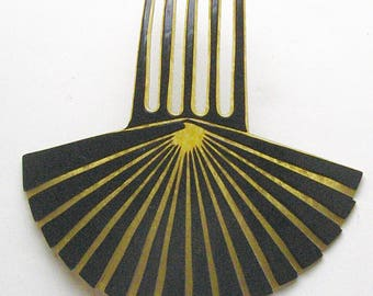 Vintage ART DECO Hair Comb Opened Fan Olive Green Marble Black Overlay Celluloid