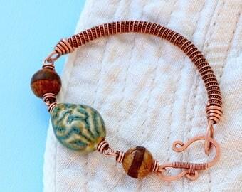 Copper Bracelet with Ceramic and Agate Dzi Beads - Wire wrapped Bracelet - Earthy Rustic Bracelet - Wirewrapped Jewelry - Boho Bracelet