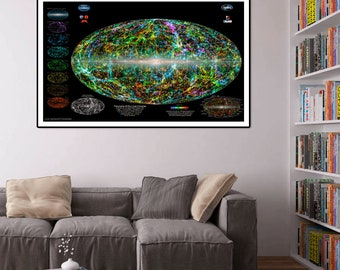 The Universe poster.Amazing view of the entire Milky Way Galaxy with the Universe as a backdrop.Universe, Universe map, Milky Way poster.