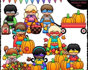 Fall Superhero Kids Clip Art and B&W Set