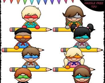 Superhero Pencil Topper Kids Clip Art and B&W Set