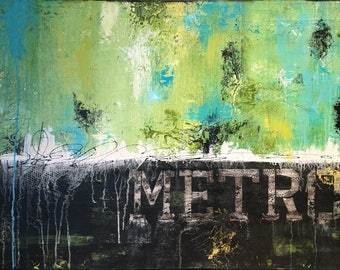 Large Contemporary Abstract Urban Landscape Mixed Media Painting