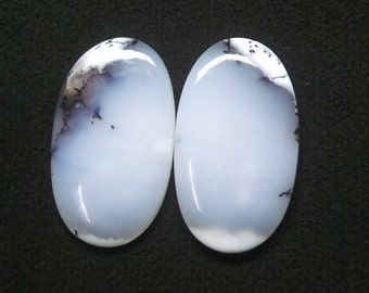 Natural Dendritic Opal Oval Cabochon Pair, Dendrite Opal, Smooth Cabochon Pair, AAA, Loose Gemstone, 33X18 MM, 43 CTS