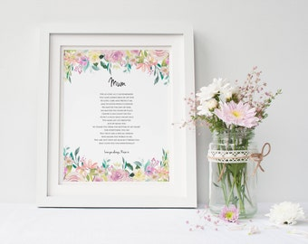 Personalised Mum Print - Mom Poem - Mum Print - Mother Poem - Mother Print - Personalised Print - Mum Gift - Mother Gift (UNFRAMED)