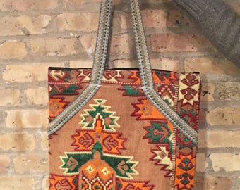 Egyptian Over-Sized Zipper Carpet Tote Bag