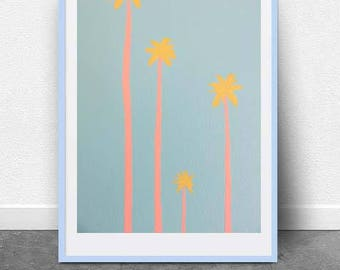 Suburban Palms, DIGITAL Art FILE, Printable Art, Instant Art, Palm Trees, Palm Springs, California Palms , Pop Art, Modern, Minimal, Pastel