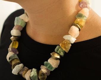 Crystals jewelry - Crystals Necklace - Colorful Necklace - Unique Beaded Necklace - Gemstones Necklace - Unique jewelry - Beaded Necklace
