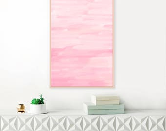 Pink Abstract Art, Large Watercolour Print, Rose Quartz Pink Painting, Printable Minimal Art, Modern Abstract Print, Original Wall Art