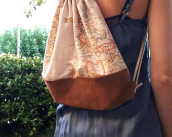 Backpack map of the world. World map Backpack. Leather backpack. Canvas and leather backpack.
